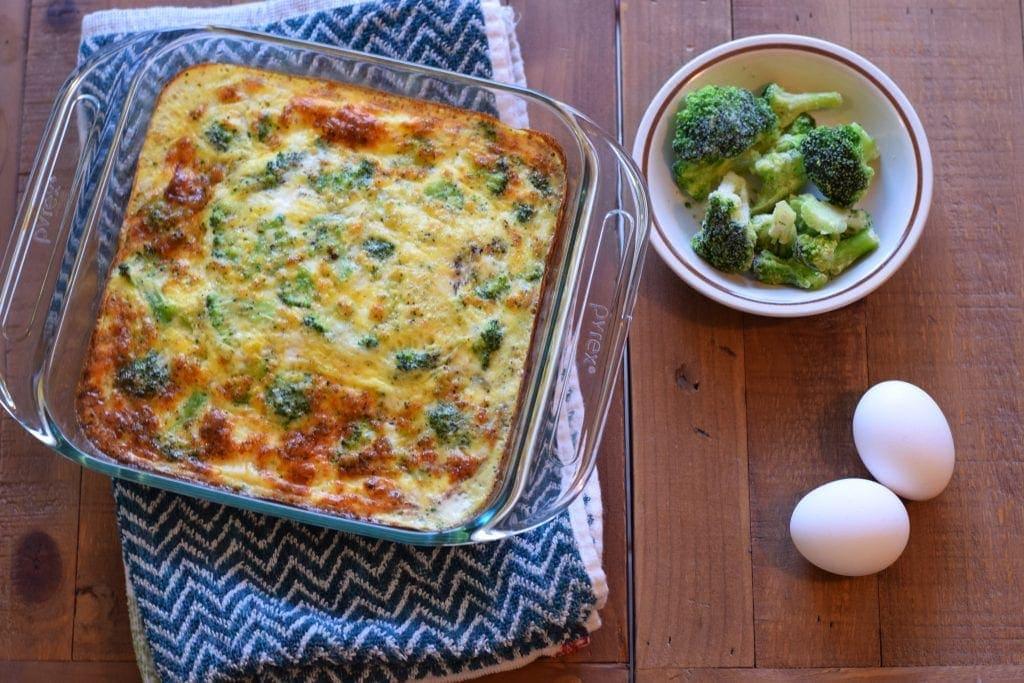 broccoli, egg, and egg bake