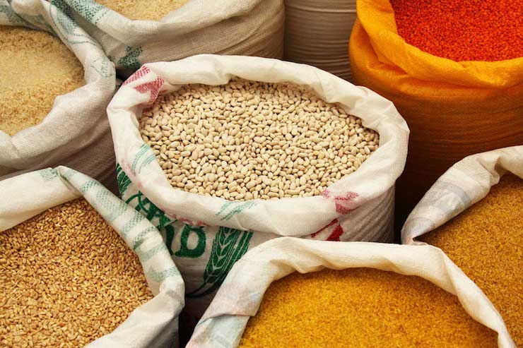 bags of grains and other incomplete proteins