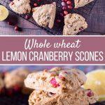 whole wheat lemon cranberry scones