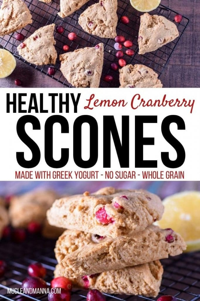 """scones on a cooling rack with lemon and cranberry. Text reads """"Healthy Lemon Cranberry Scones. Made with Greek Yogurt and No sugar"""""""