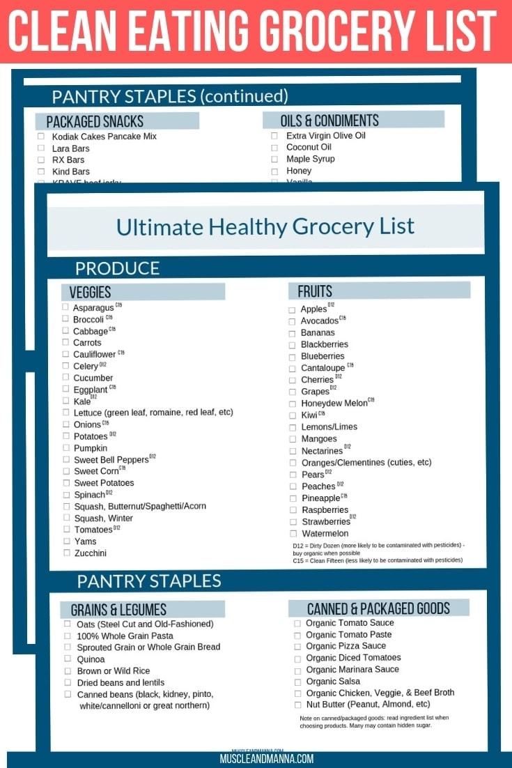 clean eating grocery list free PDF printable