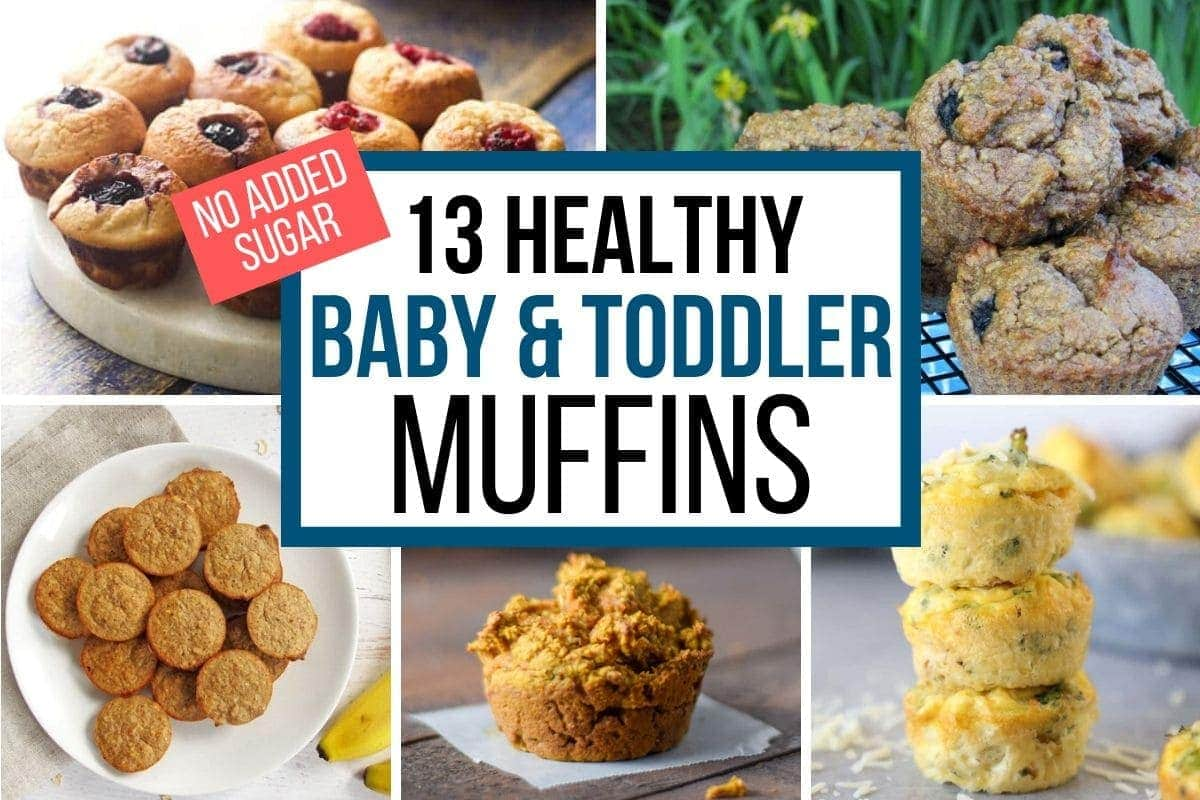 healthy baby muffins - A collage with berry muffins, flourless blueberry muffins, almond oat muffins, sugarless pumpkin muffins, and egg muffins