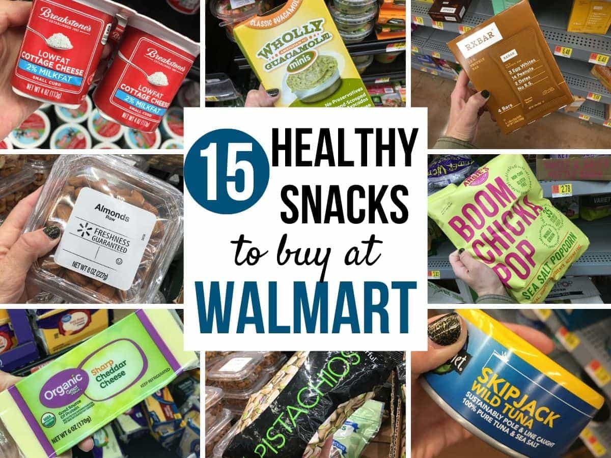 a collage of healthy snacks to buy at Walmart