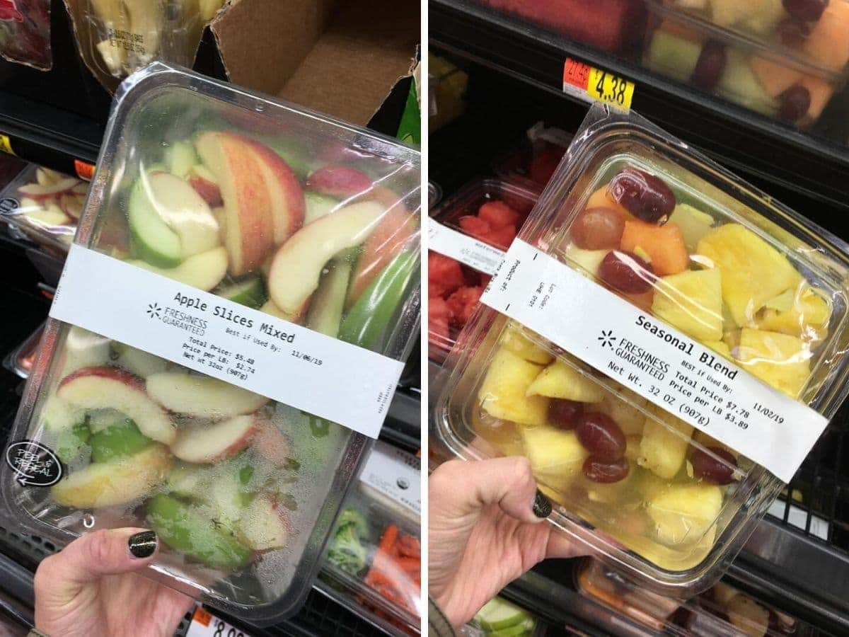 Precut and ready to eat fruit at Walmart - healthy packaged snacks