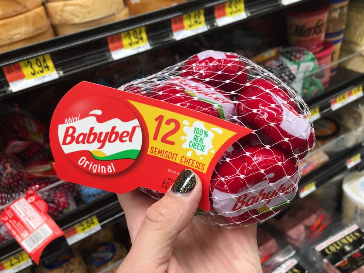 A healthy packaged snack at Walmart of Babybel cheese