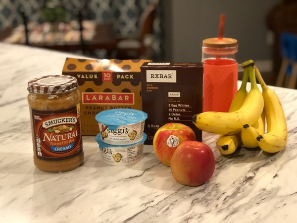 breastfeeding essential snacks to buy - Healthy Snacks including peanutbutter, rx bars, yogurt, etc