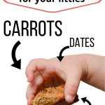 """text reads """"the best date sweetened cookies for your littles...carrots, dates, flax seeds, hemp hearts"""""""