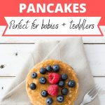 """dairy free coconut cream pancakes are prefect for babies or toddlers"" with picture of pancake"