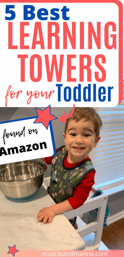toddler cooking in a toddler kitchen learning tower