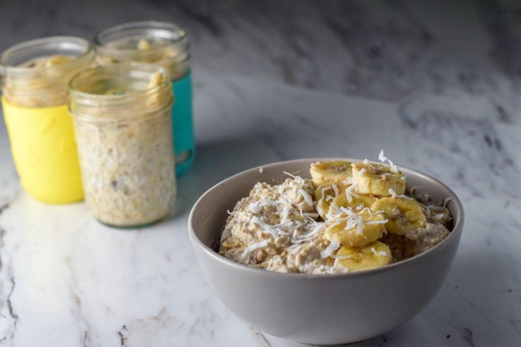 bowl of peanut butter banana overnight oats