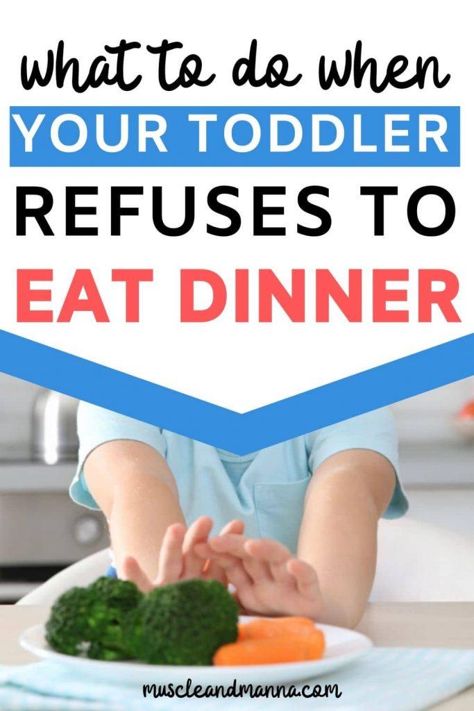 toddler pushing his plate away as he won't eat dinner