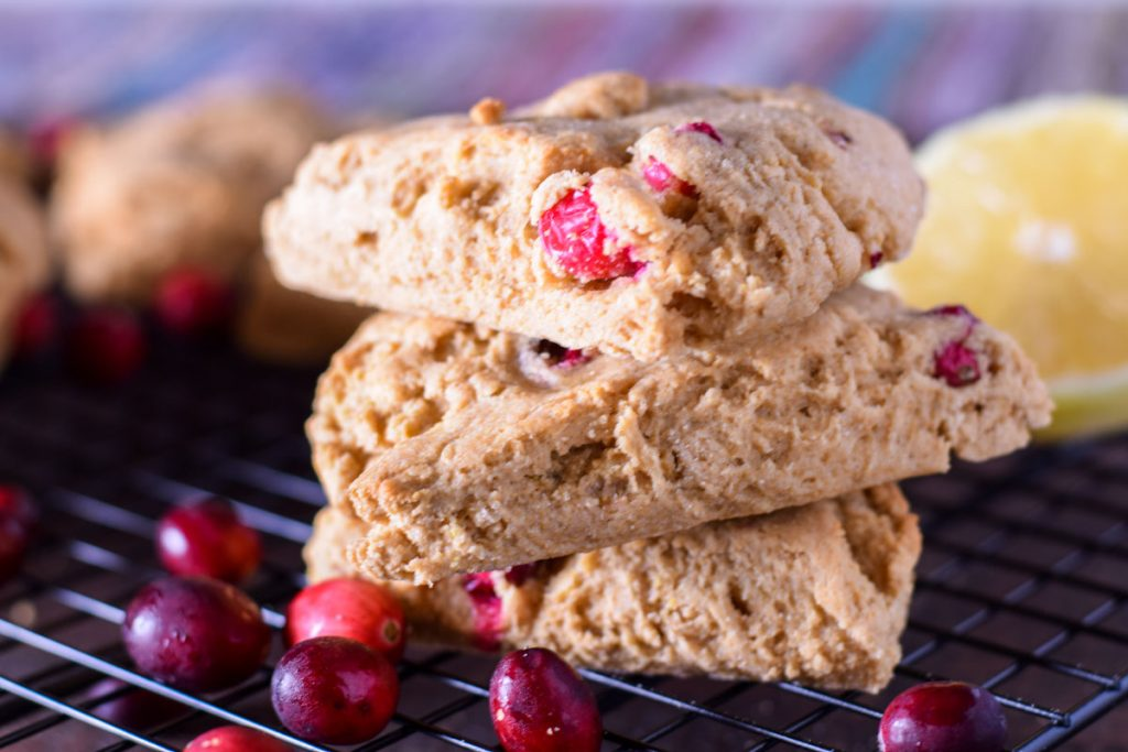 3 lemon cranberry scones in a stack