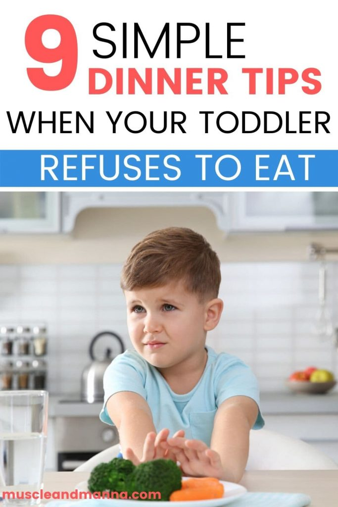 upset toddler in a kitchen pushing his dinner away as he refuses to eat dinner