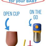 "text reads ""the best plastic free cups for your baby"" with a picture of an open cup, cup for on the go, and glass straw cups for toddlers and babies"