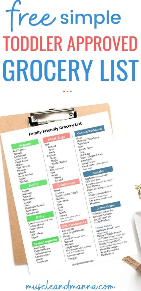 "text reads ""free simple toddler approved grocery list"" and shows a clipboard with family grocery list"