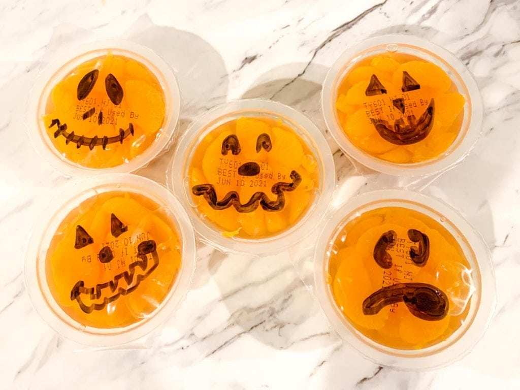 jack o lantern mandarin orange cups for babies