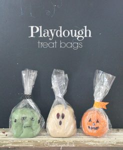 halloween playdough treat bags for kids