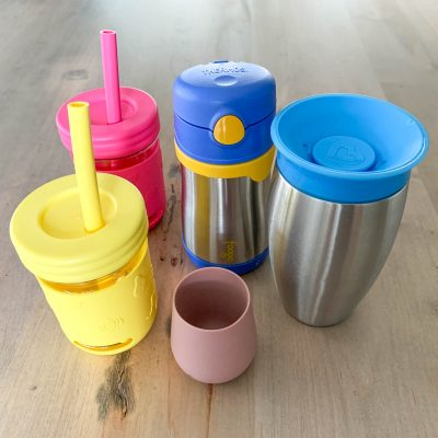 2 straw cups made of glass and silicone for toddlers and stainless steel sippy cups