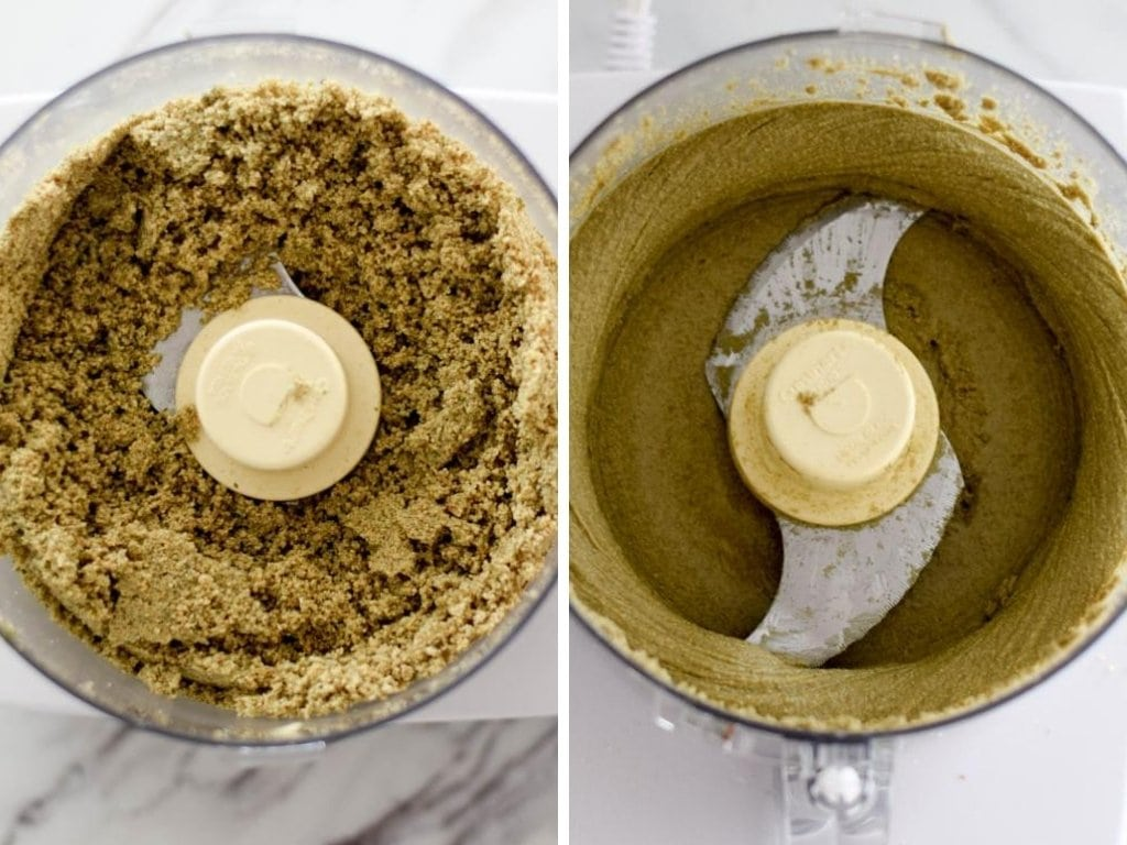 First picture shows pumpkin seed butter being made but still in a very crumbly stage. Second picture shows pumpkin seed butter being made creamy.