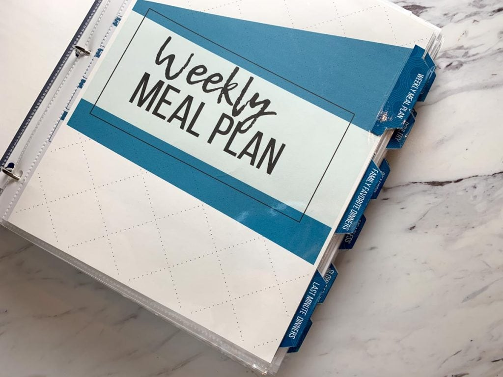 meal planner binder with tabs