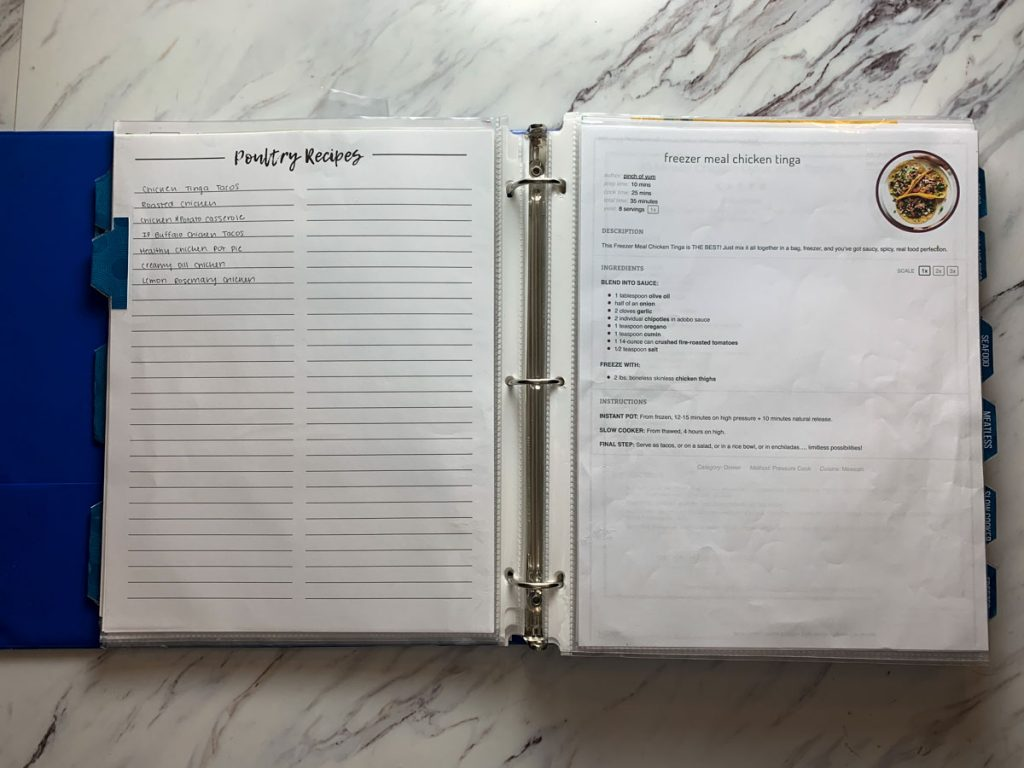 diy meal planning binder with a recipe index page