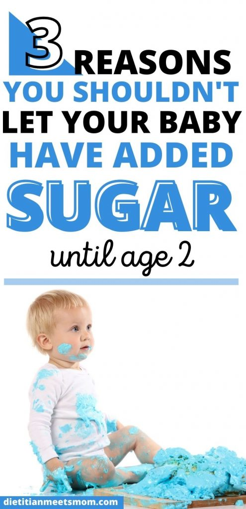 "text reads ""3 reasons you shouldn't let your baby have sugar until age 2"" with photo of baby boy and smash cake."