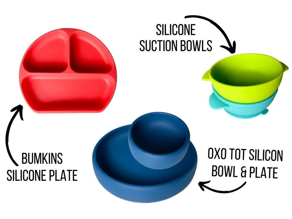 picture shows different baby led weaning bowls and plates