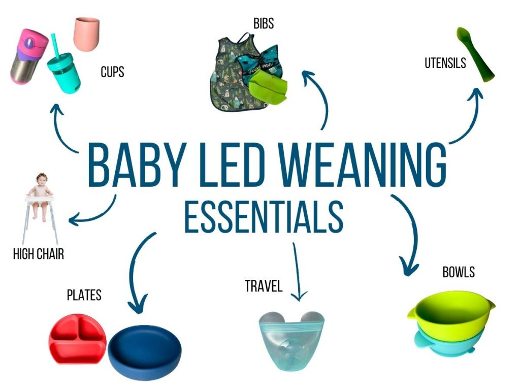 picture shows various baby led weaning products including cups, utensils, bibs, high chairs, plates, travel accessories, and bowls.