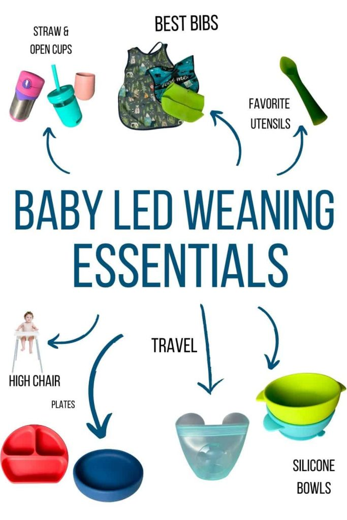 "Text reads ""Baby Led weaning essentials"" with arrows pointing to best rated blw items like straw cups and bibs."