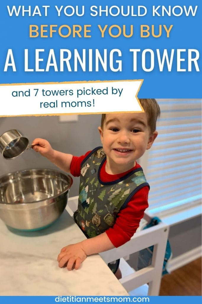finding the best learning tower - what you should know (picture shows toddler in a learning tower)