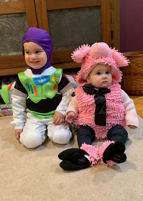 toddler and baby ready for halloween treats