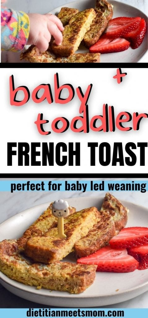baby led weaning french toast sticks shown with strawberries
