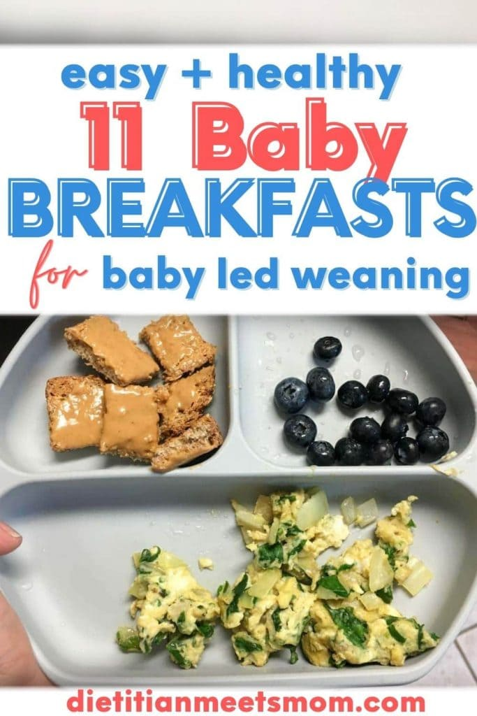 11 Baby Breakfast for Baby Led Weaning with picture of a baby's breakfast plate