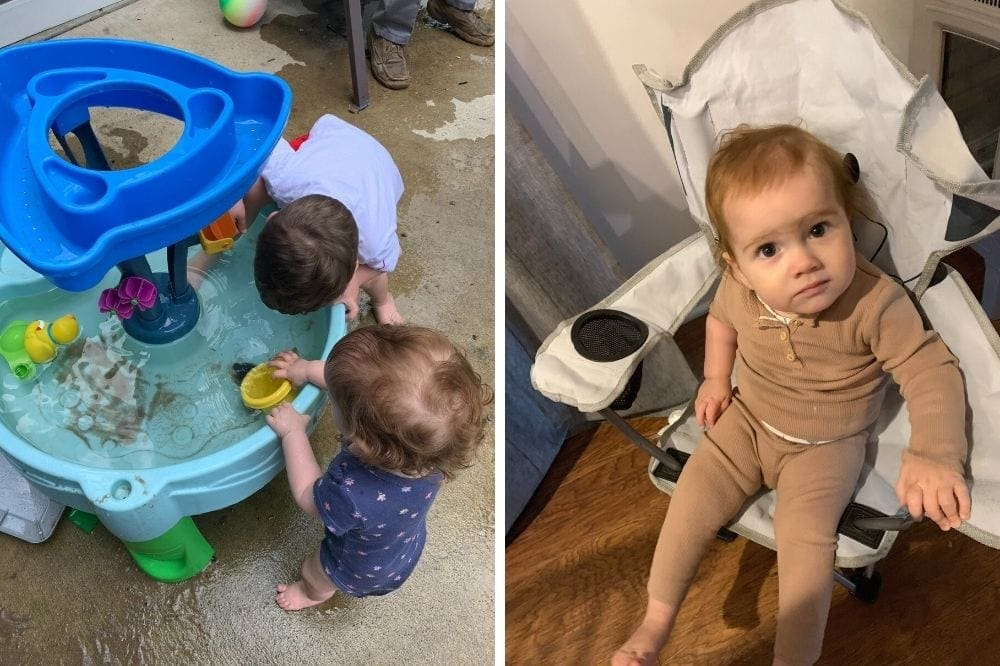 2 photos: 1 year old playing at a water table, 1 year old sitting in small chair