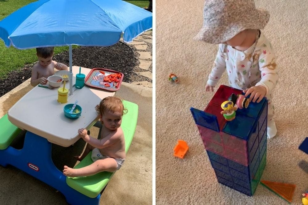 2 toddlers shown with practical gift ideas including a picnic table and magentic tiles