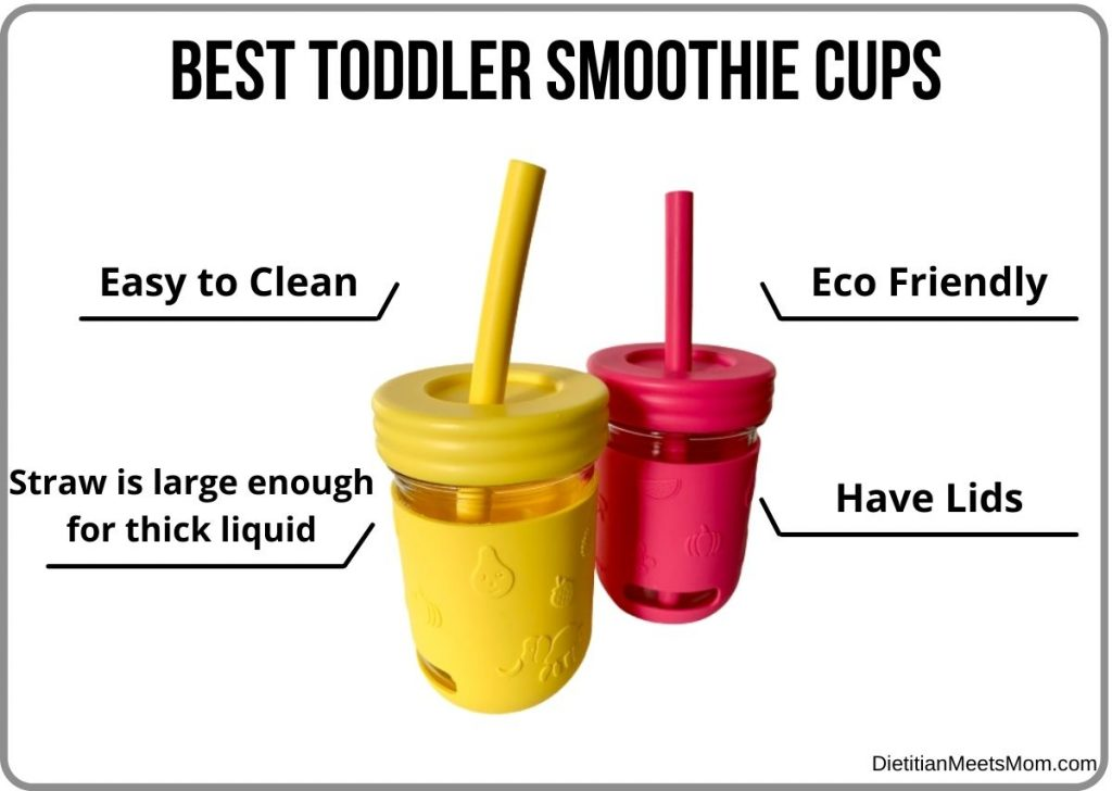 Infographic on best smoothie cups for toddlers and what to look for